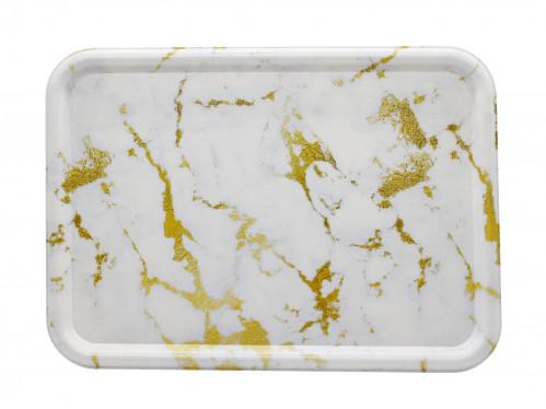 Разнос №663323 пл. прямоуг. с рис. мрамор блест. золото (32*23,3*1,4)см (80)